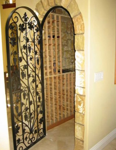 Custom Wrought Iron Wine Cellar Doors
