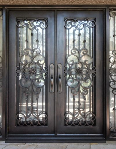 Custom Wrought Iron Double Doors with Sidings