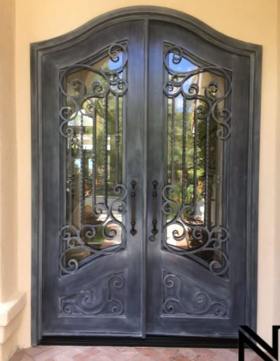 Ornate Custom Wrought Iron Double Doors